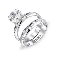 overstock wedding ring sets sterling silver 2ct cz etoile engagement wedding ring set
