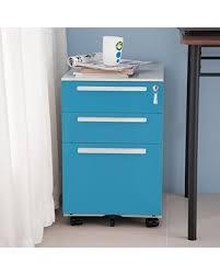 Teal File Cabinet Bargains On Merax 3 Drawer Mobile Metal Solid Storage File Cabinet