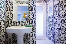 zebra bathroom ideas contemporary bathroom with black and white zebra wallpaper framing
