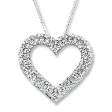 jared jewelers jared diamond heart necklace ct tw round cut k white gold
