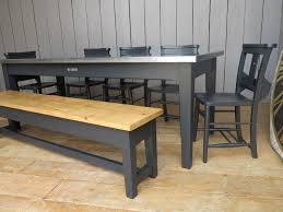 bench order natural zinc topped table with painted bench chairs made to order