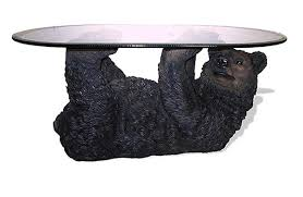 Black Bear Sculpture Coffee Table Cabin Place