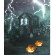 led lighted halloween haunted house with jack o u0027 lanterns canvas