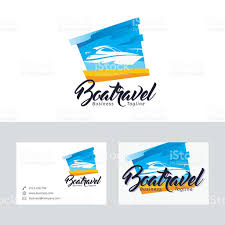 boat travel vector logo with business card template stock vector