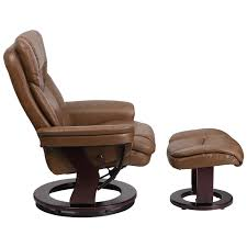 contemporary palimino leather recliner and ottoman with swiveling