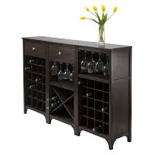 How To Build A Wine Rack In A Kitchen Cabinet Amazon Com Winsome Ancona Wine Cabinet With Glass Rack Kitchen