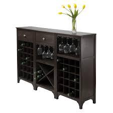 amazon com winsome ancona wine cabinet with glass rack kitchen