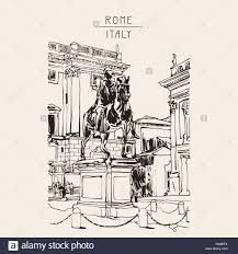 sketch digital drawing of rome italy cityscape with sculpture eq