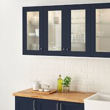ikea frosted glass kitchen cabinets axstad glass door matte blue 15x40 38x102 cm ikea