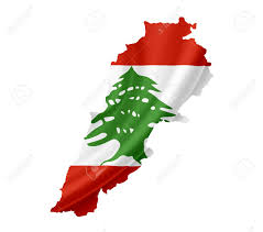 Map Of Lebanon Map Of Lebanon With Waving Flag Isolated On White Stock Photo