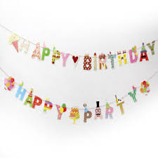 party banner happy party birthday paper flag party bell garland decor party