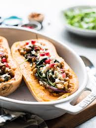 butternut squash recipe for thanksgiving stuffed butternut squash with farro chickpeas and kale kitchen