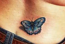 3d tatto of blue butterfly on lower back tattoos photos