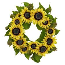 sunflower wreath nearly 4787 sunflower wreath 22 inch yellow