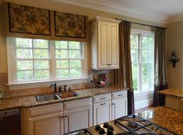 interior country kitchen window treatment with artistic floral