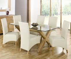 glass dining room sets rectangular glass top dining table with wood base flattering and