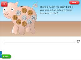 piggy bank take away a year 3 subtraction worksheet