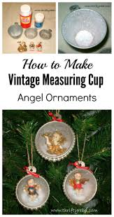 vintage measuring cup shadow box angel ornaments thrifty rebel