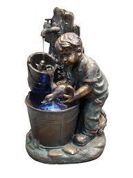 Garden Fountains And Outdoor Decor Bathing Duck In Bucket Fountain With Led Light Garden Fountains