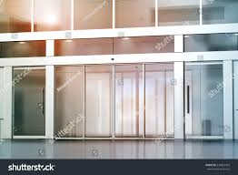 blank sliding glass doors entrance mockup stock illustration