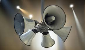 Hanging Ceiling Speakers by Horn Speakers Hanging Spotlights Stock Photo Image 47770201