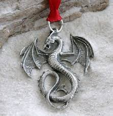 Amazon Com Pewter Dragon Gothic Fantasy Christmas Ornament And