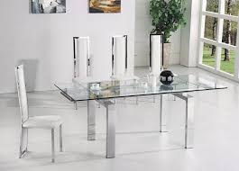 Silver Dining Table And Chairs Wonderful Glass Expandable Dining Table With Great 4 Glass Silver