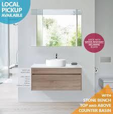 ibiza 900mm white oak timber wood grain wall hung bathroom