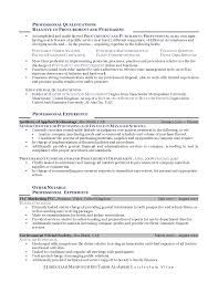 Procurement Sample Resume by Cv Professional Experience