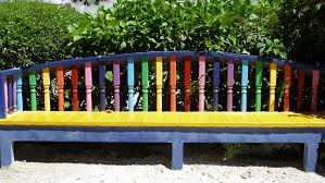 free images bench seat city colourful backyard furniture