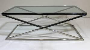 X Table Base Mid Century Modern Rectangular Glass Coffee Table Chrome X Base