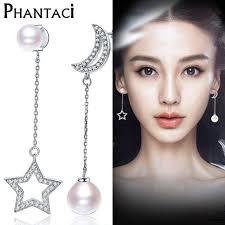 korean earings korean asymmetry 925 sterling silver pearl drop earrings zircon