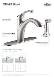 kohler kitchen faucet installation faucet mistos kitchen faucet in stainless steel kohler pull out