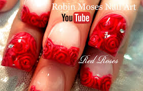 robin moses nail art diy easy red rose nails romantic roses