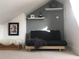 loft bedroom known as the sky room with farrow and ball plummet
