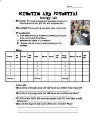 potential or kinetic energy worksheet classroom science