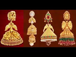gold jhumka earrings design south indian gold jhumkas designs by grt jewels