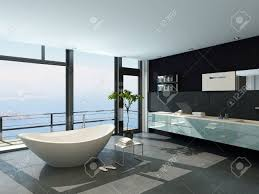 Ultramodern Contemporary Design Bathroom Interior With Sea View - Contemporary design bathroom