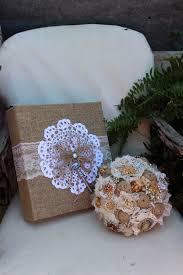 rustic photo album gypsyfarmgirl burlap brooch bouquet and photo album