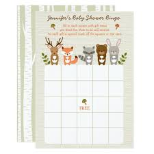 baby shower bingo woodland forest animal baby shower bingo card zazzle