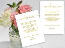 wedding itinerary template for guests wedding welcome gold compact template the stationery concierge