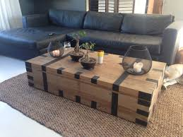 charcoal leather couch and wood kist coffee table play housie