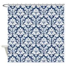 Blue Damask Shower Curtain Navy Blue Stripes 3 Shower Curtain Blue Blue Stripes And Curtains