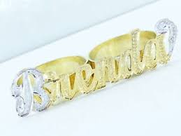 two finger name ring personalized 14k gold gp pave two 2 finger name ring ebay
