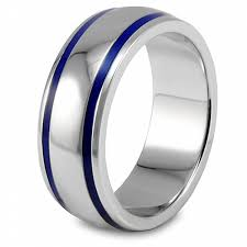 domed ring west coast jewelry men s stainless steel blue enamel groove domed