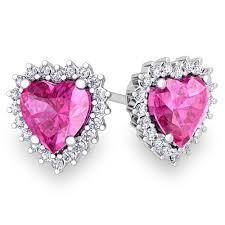 heart ear rings images Diamond and pink sapphire earrings in 14k gold heart earring studs jpg