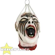 halloween gory props hanging severed head life size rubber latex halloween prop joke