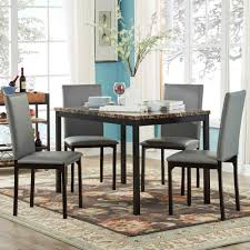 Craftsman Style Dining Room Table Oxford Creek Mio Faux Marble 5 Piece Casual Dining Set Home