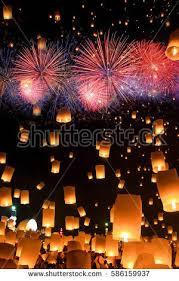 lanterns fireworks sky lanterns fireworks flying lanterns floating stock photo