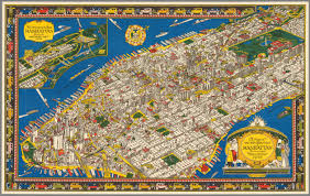 New York Tourist Attractions Map by Amazing Illustrated Vintage Map Showing